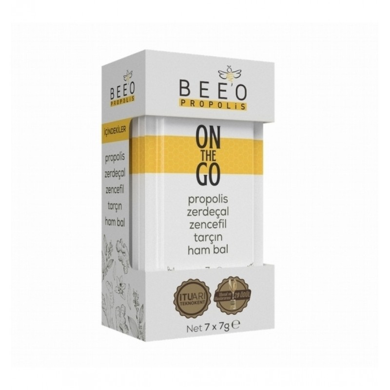 BEEO ON THE GO-Propolis-Turmeric-Ginger-Cinnamon-Raw Honey mix 7-pack